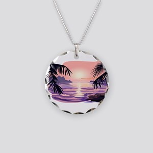 TROPICAL SUNSET [2] Necklace Circle Charm